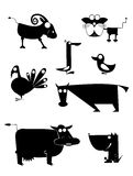 Comic farm animal silhouettes Royalty Free Stock Photography