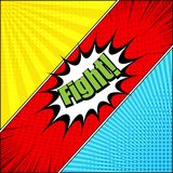Comic fight bright template. With green inscription, yellow red blue backgrounds, halftone, rays and radial effects. Vector illustration Stock Images