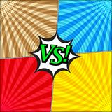 Comic fight confrontational template. With four opposite sides, halftone radial and round humor effects on blue red brown yellow backgrounds. Vector Royalty Free Stock Images