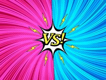 Comic fight and duel template. With white speech bubble lightnings VS yellow inscription twisted rays halftone and radial humor effects. Vector illustration vector illustration
