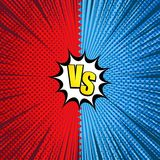 Comic fight dynamic concept. With VS inscription two opposite sides white speech bubble rays halftone radial humor effects in red and blue colors. Vector Stock Photography
