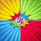 Comic fight elegant concept. With VS pink inscription colorful speech bubble rays radial and halftone humor effects on yellow green blue red backgrounds. Vector Royalty Free Stock Photos