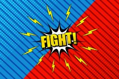 Comic fight horizontal background. With speech bubble, two opposite blue and red sides, lightning, halftone and slanted lines. Vector illustration Stock Photography