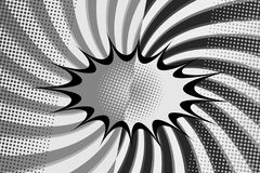 Comic fight monochrome background. With separated speech cloud radial and halftone humor effects in black and white colors. Vector illustration Stock Images