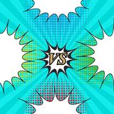 Comic fight template. With four speech bubbles green red blue yellow halftone humor effects on turquoise radial background. Vector illustration Stock Photo