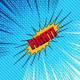 Comic Fight template. With two opposite dark and light sides, red inscription, yellow speech bubble, halftone, rays effects on blue stripes background. Vector Royalty Free Stock Photo