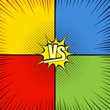 Comic fight template. With four opposite sides in pop-art style.Versus wording. Representation of confrontational warriors before battle. Vector illustration Royalty Free Stock Images