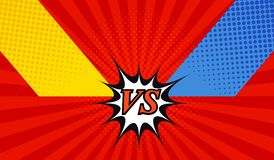 Comic fight template. With two opposite sides in pop-art style. Versus wording. Radial background. Representation of confrontational warriors before battle Stock Photos
