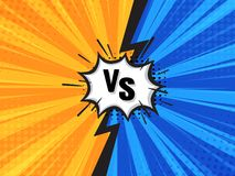 Comic Fighting Cartoon Background.Blue Vs Yellow. Vector Illustration stock illustration
