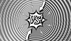 Comic fighting monochrome horizontal background. With two opposite sides, lightnings, arrows, halftone and round effects in gray colors. Vector illustration Royalty Free Stock Photography