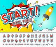 Comic font. Alphabet in style of comics, pop art Stock Photography