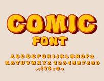 Comic font. Bang  alphabet. Bright cartoon ABC. yellow letters Royalty Free Stock Photo
