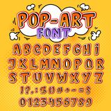 Comic font vector cartoon alphabet letters in pop art style and alphabetic text icons for typography illustration. Alphabetically popart typeset of abc and Stock Photo