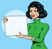Comic Girl with sign vector illustration