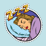 Comic girl sleeping in bed Royalty Free Stock Photos