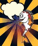 Comic halftone and pop art style.Pop art worm man vector.Comic art cartoon Koi carp fish vector.Chef fish halftone. Comic art cartoon Koi carp fish vector.Chef Royalty Free Stock Photos