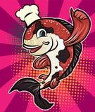 Comic halftone and pop art style.Pop art worm man vector.Comic art cartoon Koi carp fish vector.Chef fish halftone. Comic art cartoon Koi carp fish vector.Chef Stock Photo