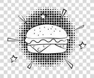 Comic Hamburger with halftone shadows. Fast food background pop art retro style. Vector illustration eps 10  on Stock Image