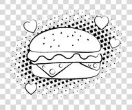Comic Hamburger with halftone shadows. Fast food background pop art retro style. Vector illustration eps 10 isolated on Royalty Free Stock Photo