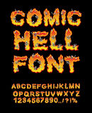 Comic Hell font. inferno ABC. Fire letters. Sinners in hellfire. Hellish Alphabet. Scrape down flame for sins. torture skeletons Stock Photo
