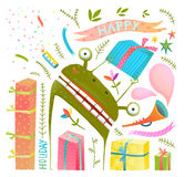 Comic Holiday Cute Frog Monster with Presents Clip Art Collection Royalty Free Stock Photo