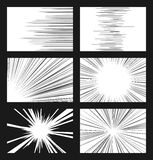 Comic horizontal and radial speed lines vector set Stock Photos
