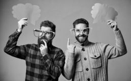 Comic and humor sense. Men with beard and mustache mature hipster wear funny eyeglasses. Explain humor concept. Funny. Story and humor. Comic idea. Men joking royalty free stock images