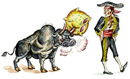 Comic illustration of matador and bull. With pillow on horn Royalty Free Stock Photos