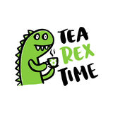 The comic inscription `Tea rex time` and a cartoon little funny dinosaur. Stock Photography