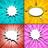 Comic light pages set. With white speech bubbles rays sound radial dotted explosive halftone star shape humor effects. Vector illustration Royalty Free Stock Images
