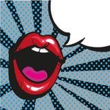 Comic lips shout Speech Bubble Pop Art On Dot black Background Vector Illustration Royalty Free Stock Image