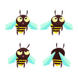 Comic little bee. Comic bee in a different mood stock illustration