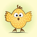 Comic little chicken in an egg shape. Funny chick with a flower. Pattern, tufted, big eyes and feet on green and yellow background Royalty Free Stock Images