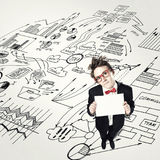 Comic man with banner Royalty Free Stock Images
