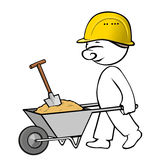 Comic man on building site Royalty Free Stock Photography