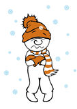 Comic man feels cold. Comic man in beanie, scarf and gloves feels cold, illustration on white background stock illustration
