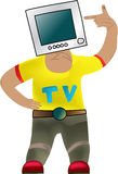 Comic man with tv on white background Stock Images
