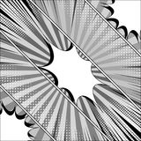 Comic monochrome diagonal template. With white speech bubbles radial rays and halftone effects. Vector illustration Royalty Free Stock Photo