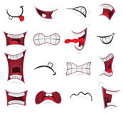 Comic Mouth Set. Illustration of a set of funny cartoon human or animals characters mouth with various expressions and emotions, from fear to joy, happiness Stock Photo