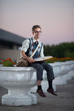 Comic nerd with glasses and a book Royalty Free Stock Images