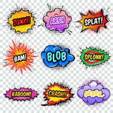 Comic Noise Effects Set. With colorful speech bubbles on transparent background popart style isolated vector illustration Stock Photos