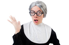 Comic nun isolated on white Royalty Free Stock Images