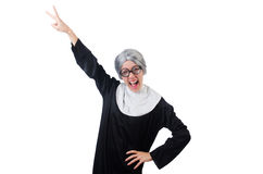 Comic nun isolated on white Stock Photo