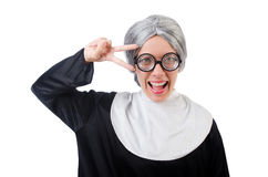 Comic nun isolated on white Stock Photography