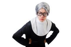 Comic nun isolated on white Stock Photos