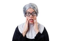 Comic nun isolated on white Royalty Free Stock Photos