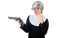 Comic nun isolated on white Stock Image