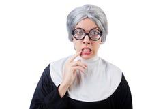 Comic nun isolated on the white Stock Photos