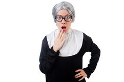 Comic nun isolated on the white Stock Images
