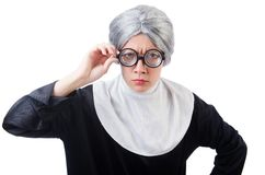 Comic nun isolated on the white Stock Photo